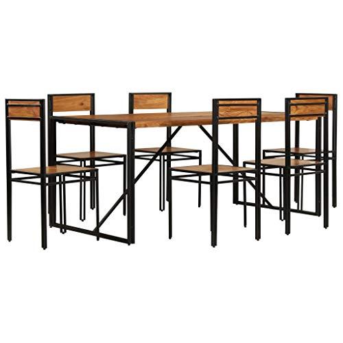guyifuzhuangs Esszimmergarnitur 7-TLG. Massiv Akazienholz mit Sheesham Finish Möbel Möbelgarnituren Küchen- & Esszimmergarnituren