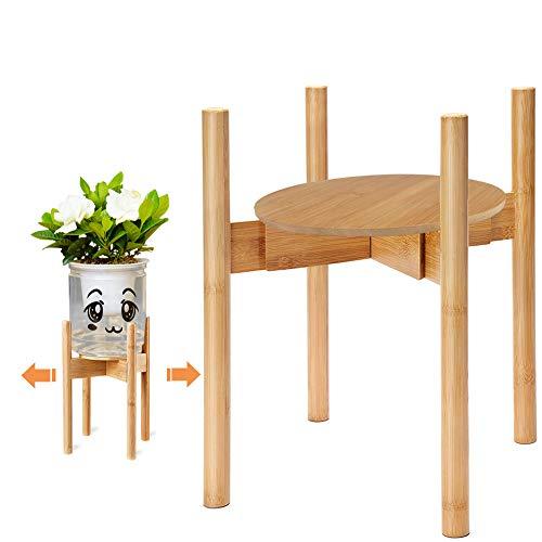 GUIFIER Soporte de Planta de bambú Ajustable con Plato, macetas Medianas y Grandes, tamaños 8 9 10...