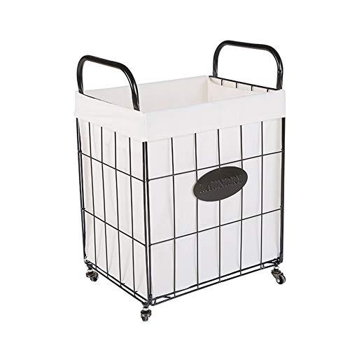 SEART Großer Wäschekorb mit Rädern, zusammenklappbarer Wäschewagen, Wäschekorb für Badezimmer-Schlafzimmer Abnehmbarer Schmutzwäschesammler mit Eisengriffen-M-35x25x50cm