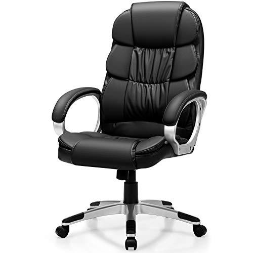 COSTWAY Chefstuhl mit Schaukelfunktion, Bürostuhl höhenverstellbar, Drehstuhl bis 150KG belastbar, Chefsessel aus PU-Leder, Computerstuhl für Büro und Arbeitszimmer, schwarz