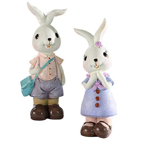 Decoración de conejo de Pascua, decoración de resina, artesanía, fiesta de Pascua, decoración de mesa, regalo