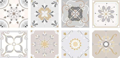 Pegatinas de Vinilo con Auto-adhesivo de Azulejos Decorativos para Pared, Muebles de Cocina y Baño, 8 PCS de 10cm / 15cm / 20cm, Vinilos Decorativos Impermeables (8pcs de 20x20cm)