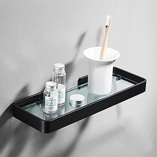 HYY-YY Mooi Modern Single Layer Zwarte Rond Glas + Aluminium Elektrische Boor Geperforeerde huis Badkamer Hotel Bathroom Rack/Shelf Multifunctionele
