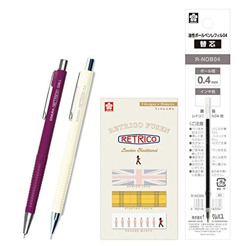サクラクレパス 油性ボールペン レトリコ 替芯+付箋+シャープセット A柄 ワインレッド NOB304R#223RA