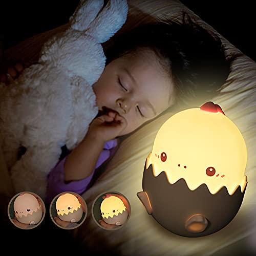 Luz Nocturna Bebé, CompraFun LED Lámpara de Noche Bebé Huevo de Dinosaurio de Silicona, USB Regargable, Interruptor Táctil para Ajustar Brillo y Color de Luz de Noche, Apto para Habitación Infantil