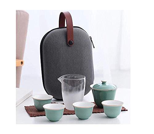 FHISD Juegos de té Juego de té Juego de Viaje Viaje Kung Fu Cubierta de cerámica Tazón de Vidrio Taza rápida al Aire Libre