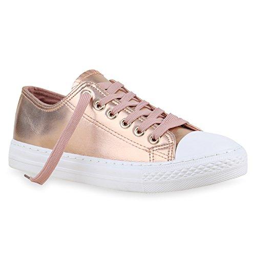 stiefelparadies Damen Schuhe Sneakers Sportschuhe Schnürer 155791 Rose Gold 37 Flandell