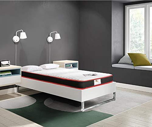 TEENO Matelas 90x190 cm Luxe Mousse à mémoire Épaisseur 16 cm Gel Mousse HR 7 Zones de Confort Équilibré