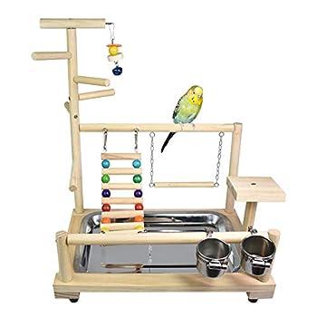 JOMSK Perroquets PlayStand Parrot Aire de Jeu Stand Pivoine Xuanfeng Little Sun Monk Swing Bite en Bois Massif Anklet Oiseaux Plateau (Color : Multi-Colored, Size : A)