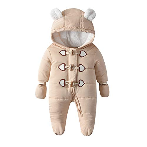 Simplee kids Baby Infant Boys Girls Snowsuit Winter Hooded Footed Warm Jumpsuit Outerwear with Gloves for 18-24 Months D-Brown