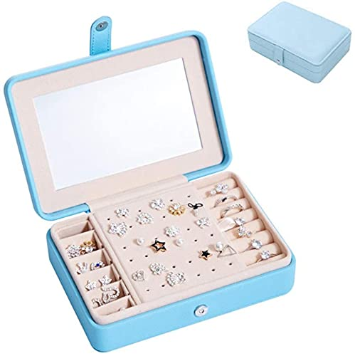HKHJ - Organizador de joyas portátil para mujeres y niñas, pequeño joyero de cuero con espejo incorporado, collares, pendientes, anillos