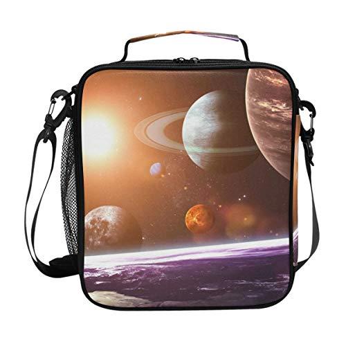 FANTAZIO Insulated Lunch Box Solar System Planets Pattern Lunch Bag Lunch Organizer