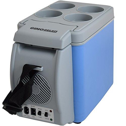 Gino Gelati 2-in-1 mini-koelbox, warmhoudbox, voor op de camping, 12 en 220 volt, koelt tot 25 graden onder de omgevingstemperatuur