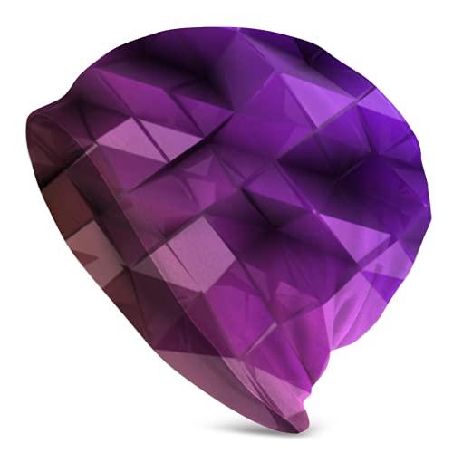 Jimbseo Violeta Triángulo Resumen Fondo Beanie Cap Cap Gorro Skull Cap
