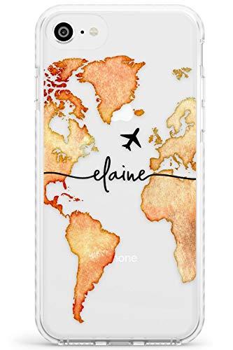 Case Warehouse Personalizada Acuarela Mundial Mapa de Orange Impact Funda para iPhone 6 TPU Protector Ligero Phone Protectora con Pasión De Viajar Viajero A Medida