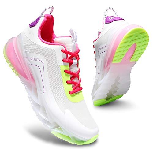 Deevike Sneaker Damen Laufschuhe Wanderschuhe Sportschuhe Turnschuhe rutschfest Stoßfest Fitness Schuhe Weiß Rosa-40