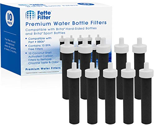 Fette Filter Replacement Filters for Brita Water Bottles – BPA Free Water Filters Compatible with Brita Hard-Sided Bottles & Sport Sided Bottles – Compare to Part #BB06. (Pack of 10)