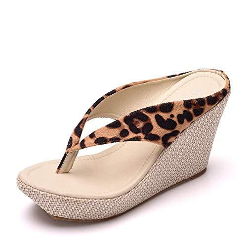ypyrhh Zapatos para la Ducha y la Playa,Pendiente con Chanclas,bizcocho con Zapatillas de Plataforma-Estampado Leopardo_33,Chanclas Antideslizantes para baño
