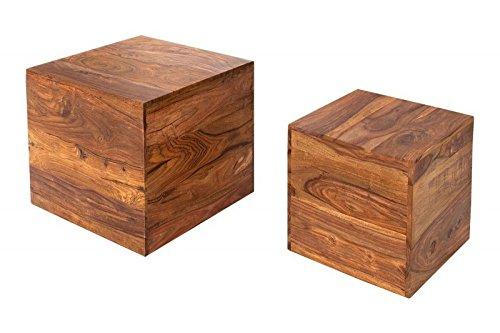 DuNord Design Beistelltisch Couchtisch Jakarta 2er Design Tisch Set Palisander Sheesham Massiv Würfel