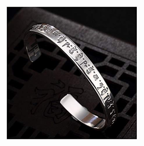 FAYFMA Pulsera de plata de ley con diseño de Buda y Mantra de plata de ley, mate, brillante, con apertura retro, ajustable, joyería de plata brillante
