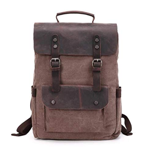 Mens Europe Canvas Leather Backpacks 14' Laptop Daypacks Waterproof Large Waxed Travel Back Packs Chocolate
