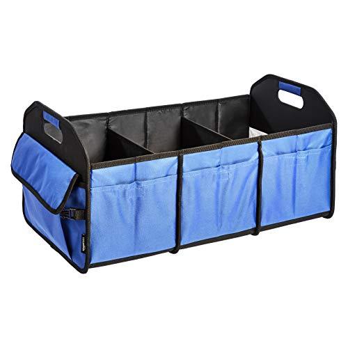 Amazon Basics - Organizer da bagagliaio, resistente, compattabile, con scomparti multipli, blu