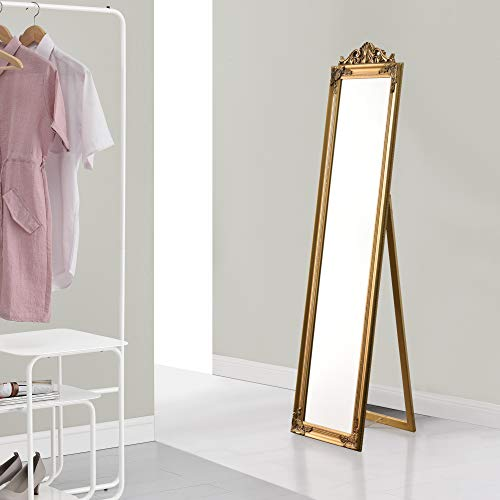 [en.casa] Espejo de pie 160x40 cm Espejo de Suelo Marco de Estilo Barroco Inclinable Ajustable Decoración Salón Dormitorio Dorado