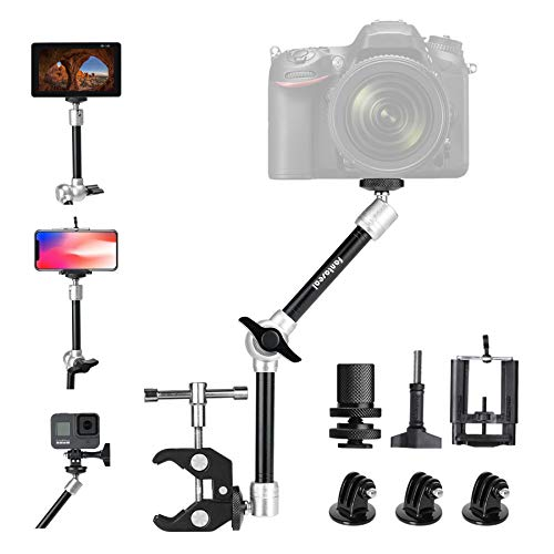 "11"" Adjustable Heavy Duty Robust Magic Arm, DSLR Mirrorless Action Camera Camcorder Smartphone LCD Monitor Video Light Vlog Rig w/ Desk Pole Clamp Holder Mounts Kit fit for GoPro iPhone (10 lbs Load)"