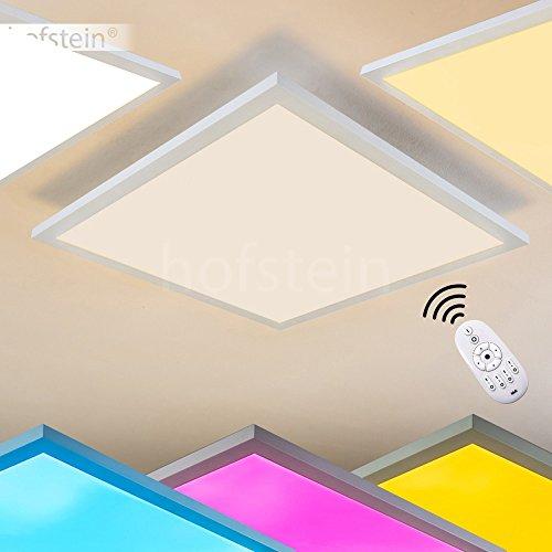 LED Deckenpanel Wabos, quadratische Deckenleuchte aus Metall in Weiß, dimmbare Deckenlampe mit RGB Farbwechsler u. Fernbedienung, 28 Watt, 2200 Lumen, Lichtfarbe 3000 Kelvin