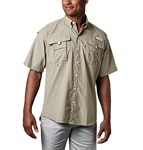 Columbia Men's PFG Bahama II Short Sleeve Shirt, Fossil, Large