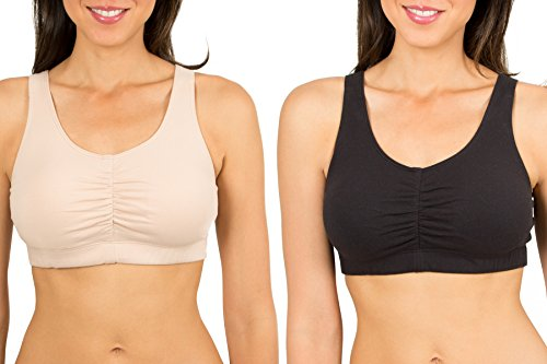 Fruit of the Loom Women's Sport Bra with Cookies , Sand/Black, 40(Pack of 2)