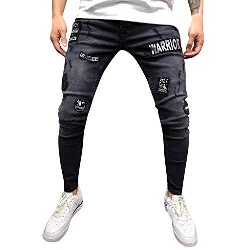 KEERADS Jeans en Denim Skinny déchiré et déchiré pour Homme Hip hop, Collants Haut de Gamme, Slim, Pantalons Trou, Hommes Neufs, Badges, Jeans(FR-40/CN-M,Noir)