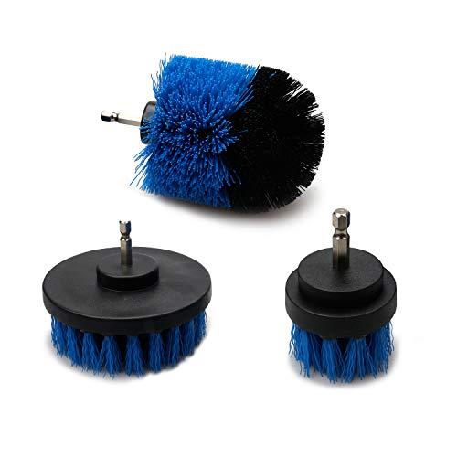 電動掃除用ブラシ 3点セット 風呂掃除 台所掃除 浴室掃除用ブラシ 六角軸電動ドリルに適応 (ブルー)