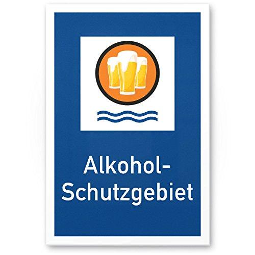 DankeDir! Alkohol-Schutzgebiet, Kunststoff Schild mit Spruch - lustiges Geschenk für ihn, Geschenkidee Geburtstagsgeschenk Männer/Jungs, Party Deko Zubehör, Scherzartikel JGA - Accessoire Fotobox