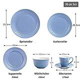 Sunting Geschirrset 6 Personen Blau Tafelservice 36 tlg. Neues Bone China Geschirr Set im Geprägtes Stil mit Rund Speiseteller Suppenteller Dessertteller Müslischüssel Kaffeetassen und Untertassen - 3