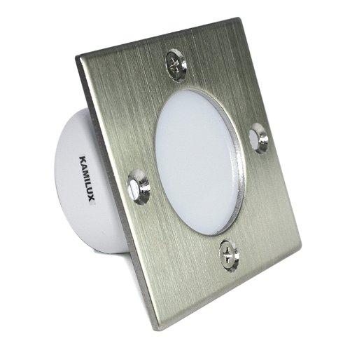 LED Wandeinbauleuchte Casper S 230V 1,5 Watt mit Edelstahl Frontblende Indoor Stiegen-Beleuchtung Treppenstufen- Beleuchtung Schalterdoseneinbau IP20 Lichtfarbe in kalt-weiß