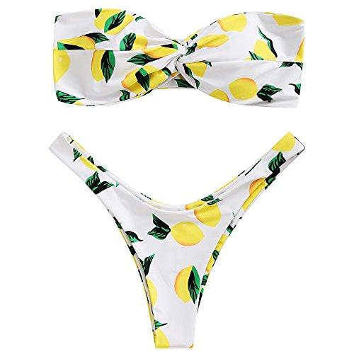 Zaful Donna Sexy Mare Bikini Estivi A Due Pezzi A Fascia Motivo A Limone Costume Da Bagno Imbottito, Perizoma Gamba Alta (Bianco, L)