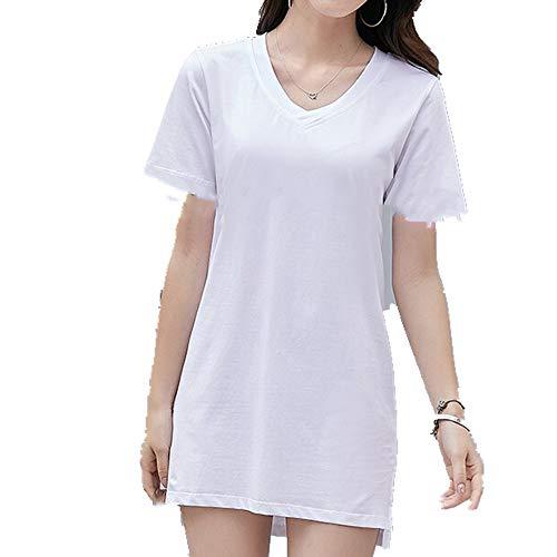 Camiseta de manga corta para mujer. Blanco XL