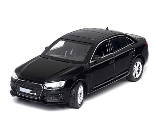 Diecast Model Coche 1:32 para Audi A4 Diecast Scale Malth Toy Model Models 6 Puertas abiertas Sonido y luz Tirar hacia atrás para los juguetes de colección para niños (Color: Negro con caja) wmpa