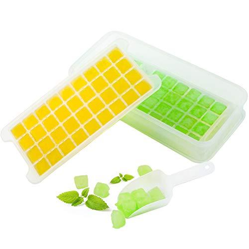 DUTISON 36-Fach Eiswürfelform 2er Pack Eiswuerfel Mit Deckel Ice Tray Ice Cube +Eisschaufel, Kühl Aufbewahren, LFGB Zertifiziert (2er pack)