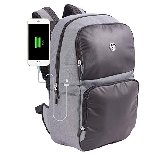 Swissdigital Empere mochila de dos tonos para portátil, carga precableada USB, sistema de añadir una bolsa