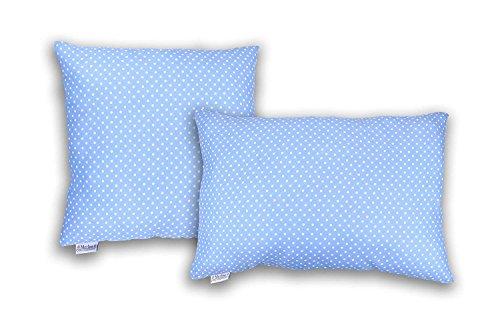 MERINO BETTEN Gepunktete Kissenbezüge, Kuschelkissen-Hülle, Kissenhüllen, Dekokissen mit Reißverschluss (weitere Größen und Farben verfügbar) (Hell Blau gepunktet, 30 x 40 cm)