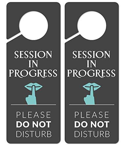 Do Not Disturb Door Hanger Sign, 2 Pack, Please Do Not Disturb Sign, Session in Progress