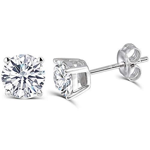 DovEggs 10K White Gold Post 1CTW 5mm Heart Arrows Cut Moissanite Stud Earrings Sterling Silver Push Back for Women
