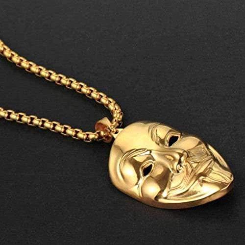 WLHLFL Collar de Acero Inoxidable con máscara de Payaso, joyería para Hombres, Collar con Colgante de Acero de Titanio, Regalo Dorado para Mujeres y Hombres