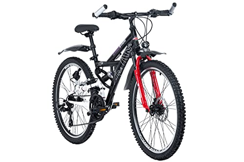 KS Cycling Kinderfahrrad Mountainbike 24\'\' ATB Fully 4Masters schwarz RH42cm