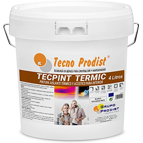 TECPINT TERMIC de Tecno Prodist - (4 Litros) Pintura interior al agua, con aislante térmico y acústico - Antihumedad - Paredes y Techos - Super blanco - Fácil Aplicación - Sin olor (BLANCO)