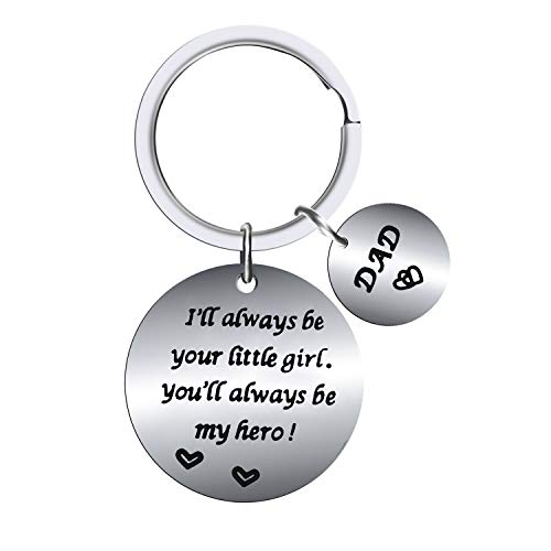 BESPMOSP Father's Day Keychain Gifts for Dad from Daughter Son I'll Always be Your Little Girl You Will Always be My Hero Dad Keyring (Little Girl)