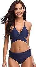 SHEKINI Women's Push-up Halter Bandage Bikini Swimsuits Ruched Swim Bottoms (Large, Deep Blue)