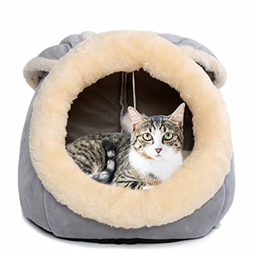 Cat Beds for Indoor Cats - Small Dog Bed with Anti-Slip Bottom, Rabbit-Shaped Cat/Small Dog Cave with Hanging Toy, Puppy Bed with Removable Cotton...